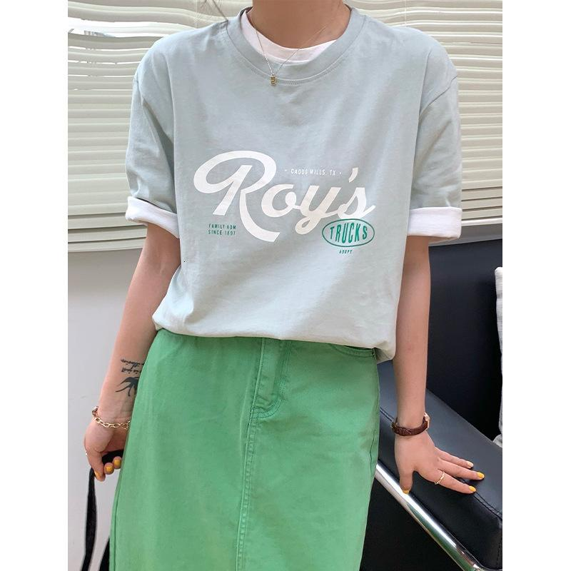 Weisong letter print T shirt for female 2021 spring and summer Women's ins crew neck loose top