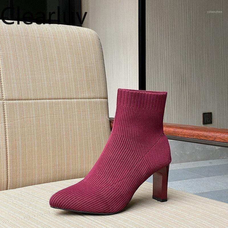 Novel! Pointed-toe Knitted Women's Boots with Breathable Fashion High Heel 7cm Ankle Socks Size 35-401