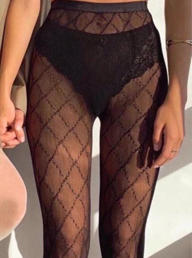 Fashion Designer Soie Bas de haute qualité Sexy Womens Womens Hosiery Sexy Grille Transparente Bas Hosiery 6 Styles