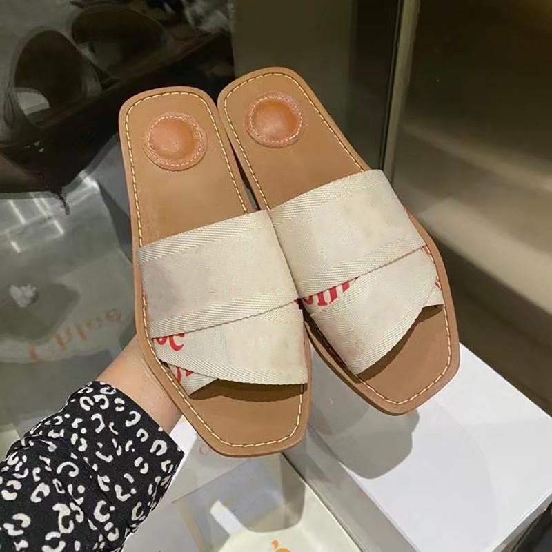 우디 플랫 노새 샌들 디자이너 신발 여성 캔버스 인쇄 수 놓은 슬라이드 플랫 슬리퍼 블랙 화이트 가죽 플립 플롭 박스 290