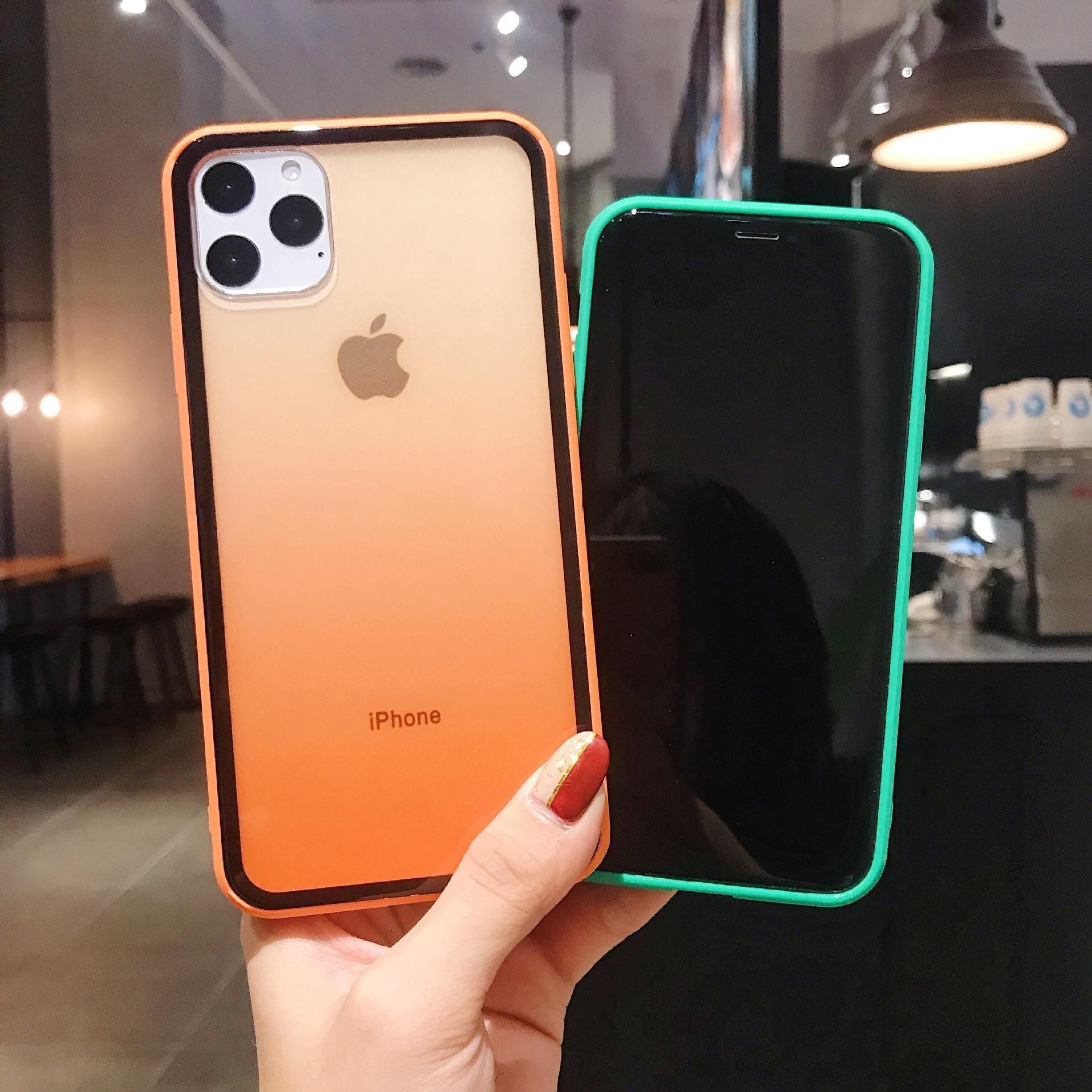 Радужная радуга градиентная рамка с уставкой очистной прозрачной защитной крышки Чехол для телефона для iPhone 12 Mini 11 Pro Max X XR XS 7 8 плюс