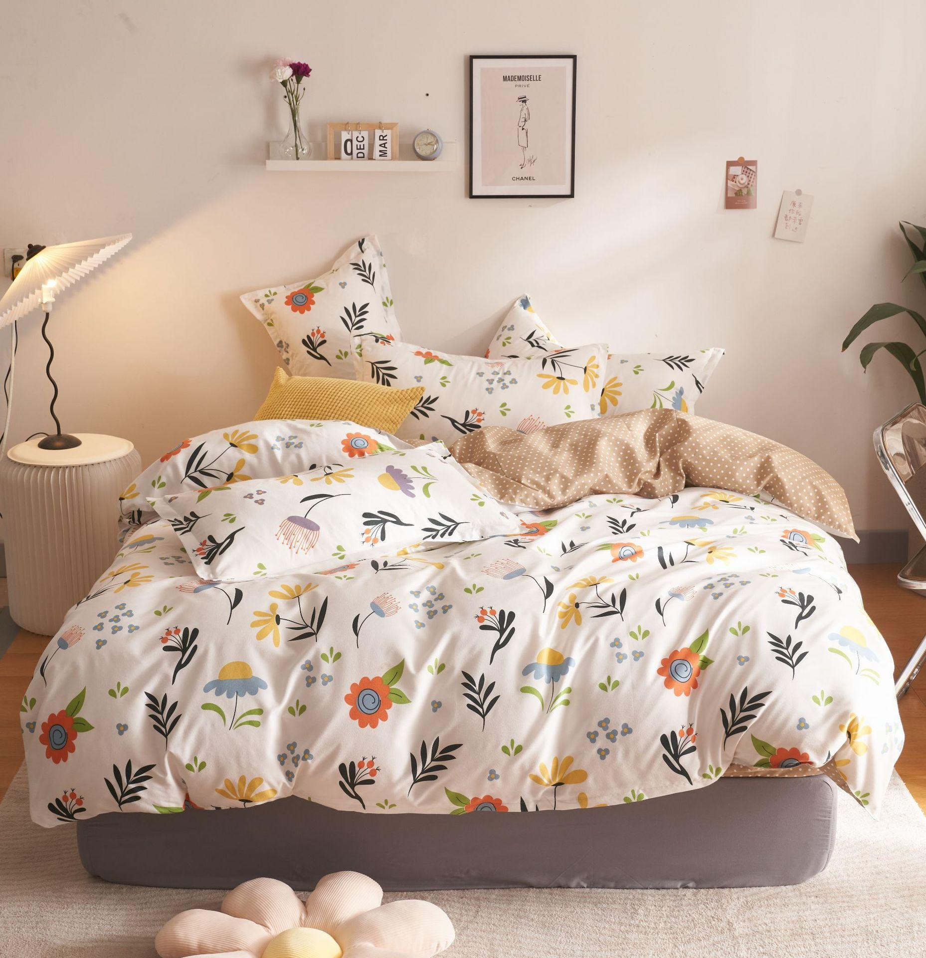 Student sheets are set with three-piece water wash cotton shredded flowers four-piece sets of bedding
