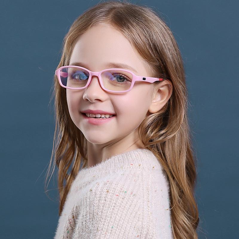 Elbru Square Anti-blue Light Kids Glasses Optical Frame Children Soft Transparent Glasses Fashionable Silicone Material Eyewear