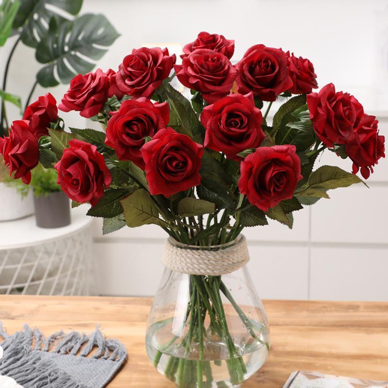 Flores decorativas grinaldas de plantas artificiais rosa decorações de casamento eterno buquê falso mariage outono moderno casa decoração