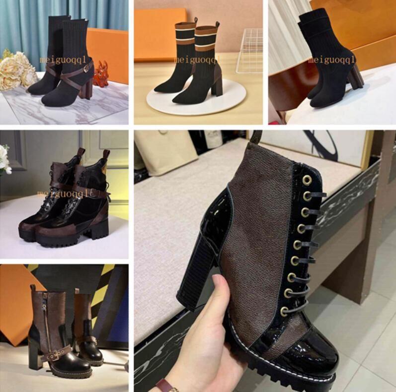 Yıldız Trail Ayak Bileği Boot Lüks Bayan Tasarımcı Tıknaz Topuk Ayak Bileği Çizmeler Lüks Tasarımcı Lace Up Martin Çizmeler Ladys Moda Kış Patik 9.5 cm