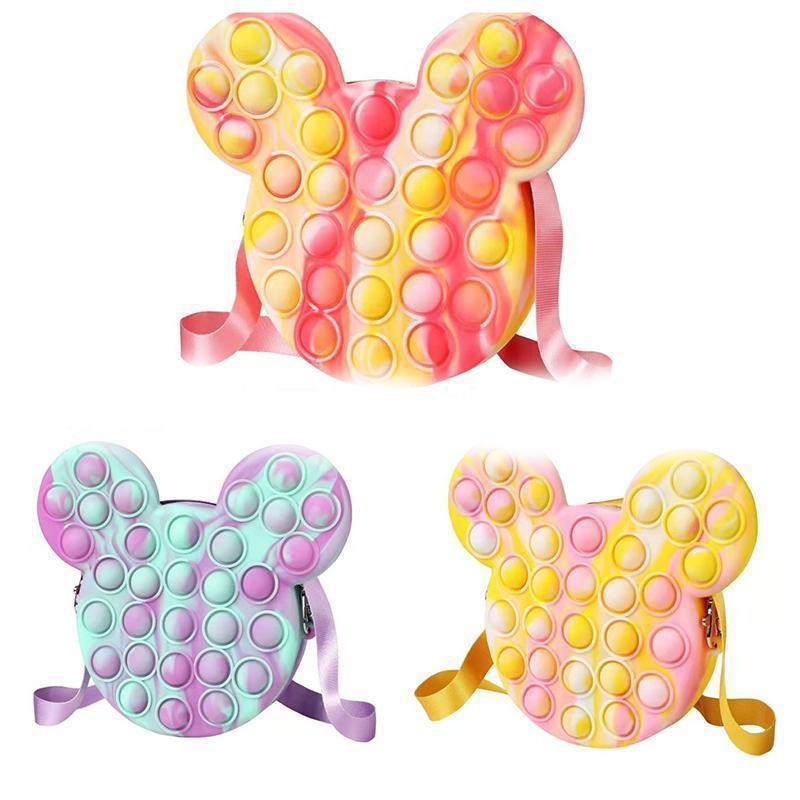 Fidget giocattoli sensoriale spalla di moda borsa unicorno bambino push bolla bolla arcobaleno anti stress educativo bambini e adulti decompressione giocattolo del partito favore