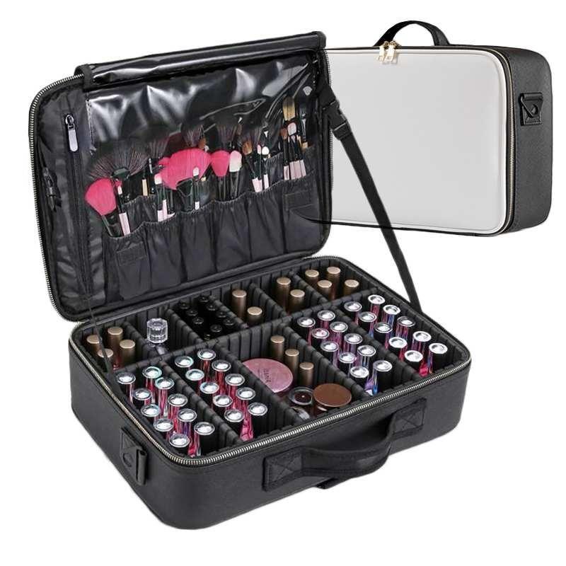 أكياس مستحضرات التجميل الحالات جلدية الجلود حقيبة المهنية المكياج مربع سعة كبيرة المنظم حقيبة يد السفر إدراج أدوات الزينة ماكياج حقيبة