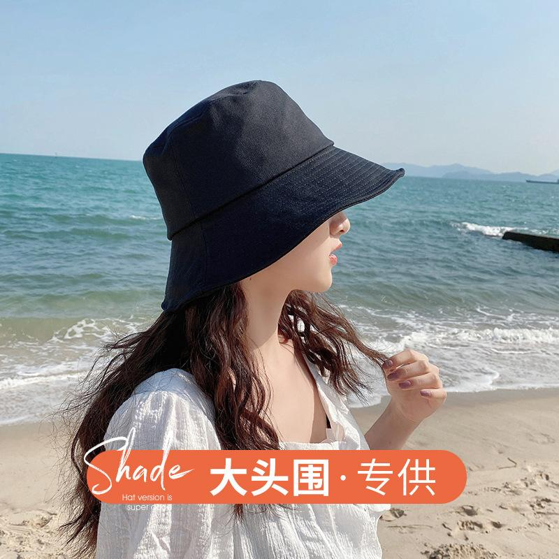 Chapeaux Femelle Femme Spring and Summer Polonatile Fisherman's Big Head Girth Special XL Coréen Solewshade