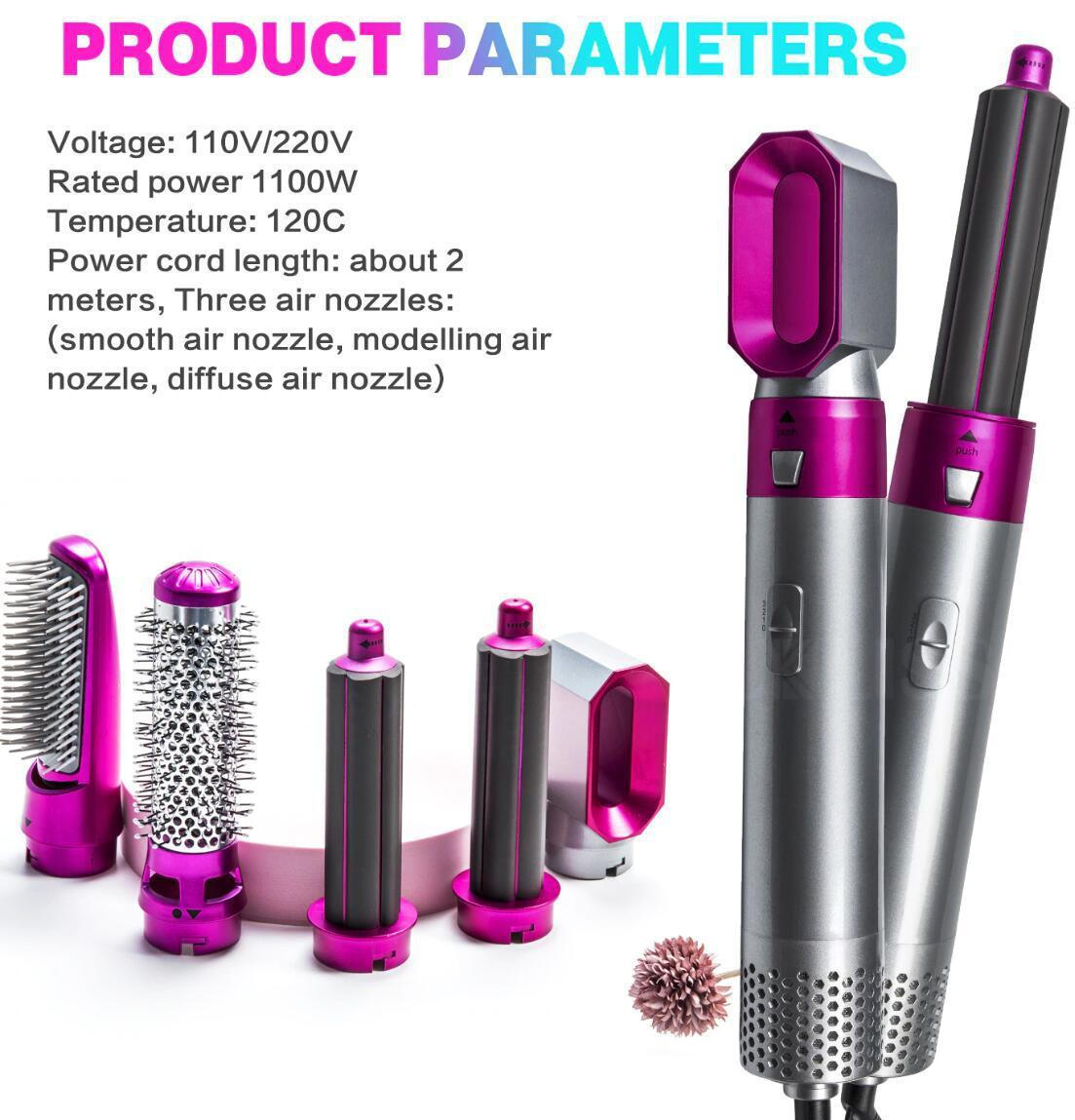 2021 pente de sopro 5 em 1 pente de ar quente multi-funcional pente de ar com pente de cabelo em linha reta Curling Ferro Plug-in Roller Tourmaline Manga