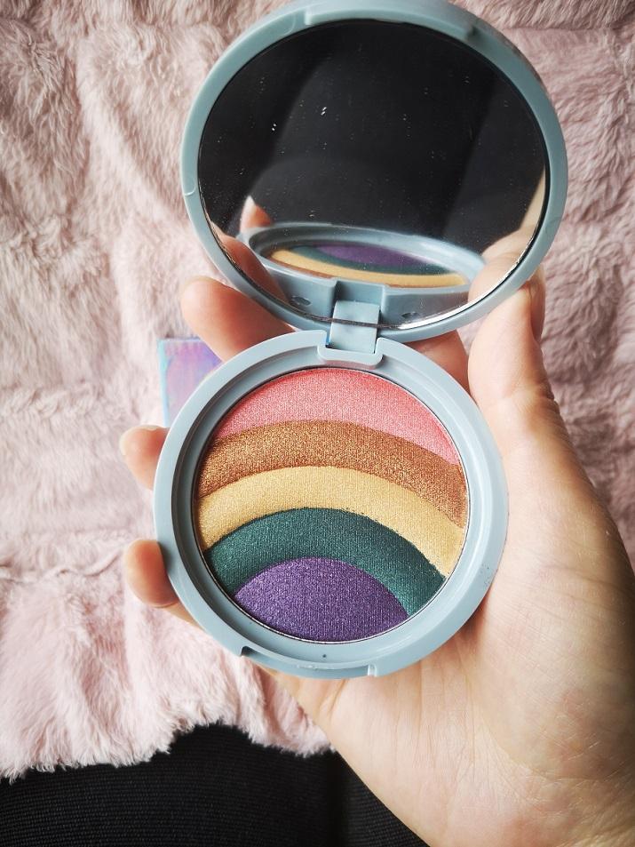 Großhandel Gesicht Hervorhebung Make-up Regenbogen-Strobe-Effekt-Highlighter lang anhaltender Glitzer-Highlight und bronzed Haut Glow Cosmetic Cake Pulver Freies Shiping