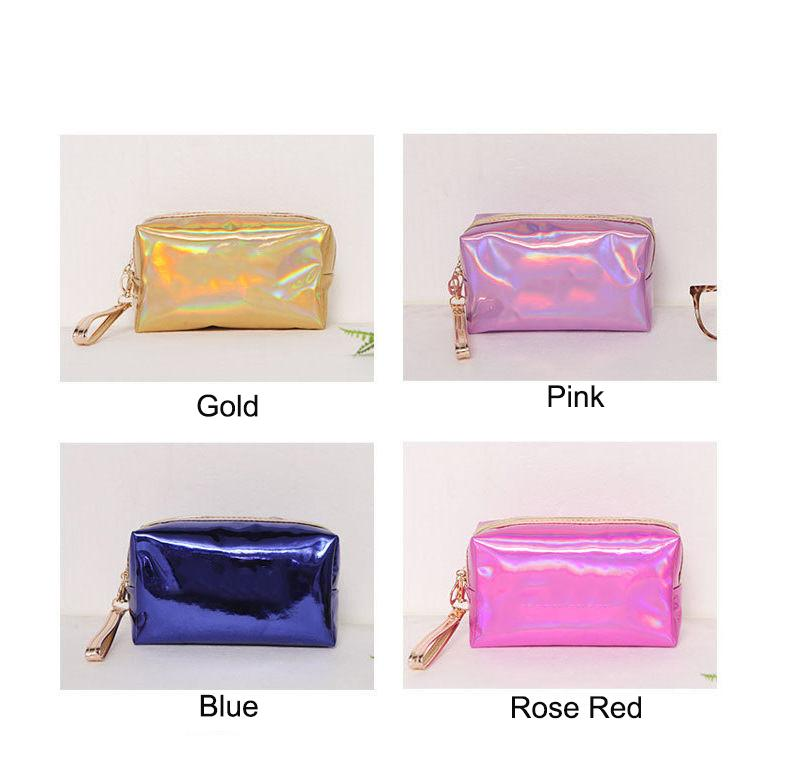 Brands Women Cosmetic Bag Pink Laser Sequins Makeup Pouch Waterproof Mini Organizer Small And Portable Multifunctional Female Storage Handbags