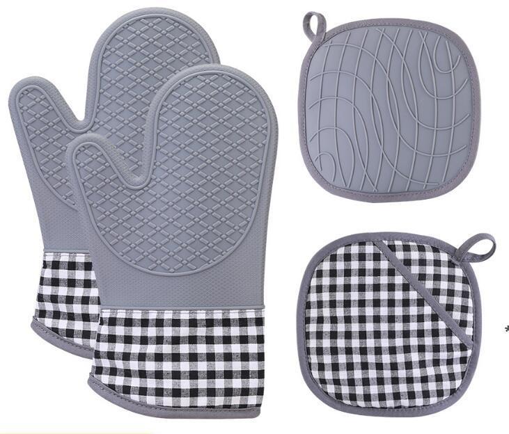 Forno Mitts e Pot Holders Set Set da cucina Controsoffitti Tappetini da banco Avanzato Resistente al calore Guanti da forno antiscivolo Grip strutturato HHA5124