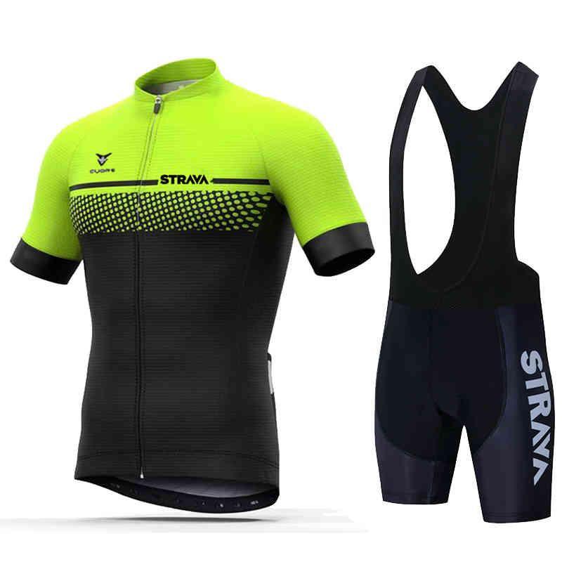 Новый 2021 Strava Велоспорт Джерси Установить дышащий велосипед одежды езда на велосипеде с коротким рукавом спортивный велосипедный набор Ciclismo X0523