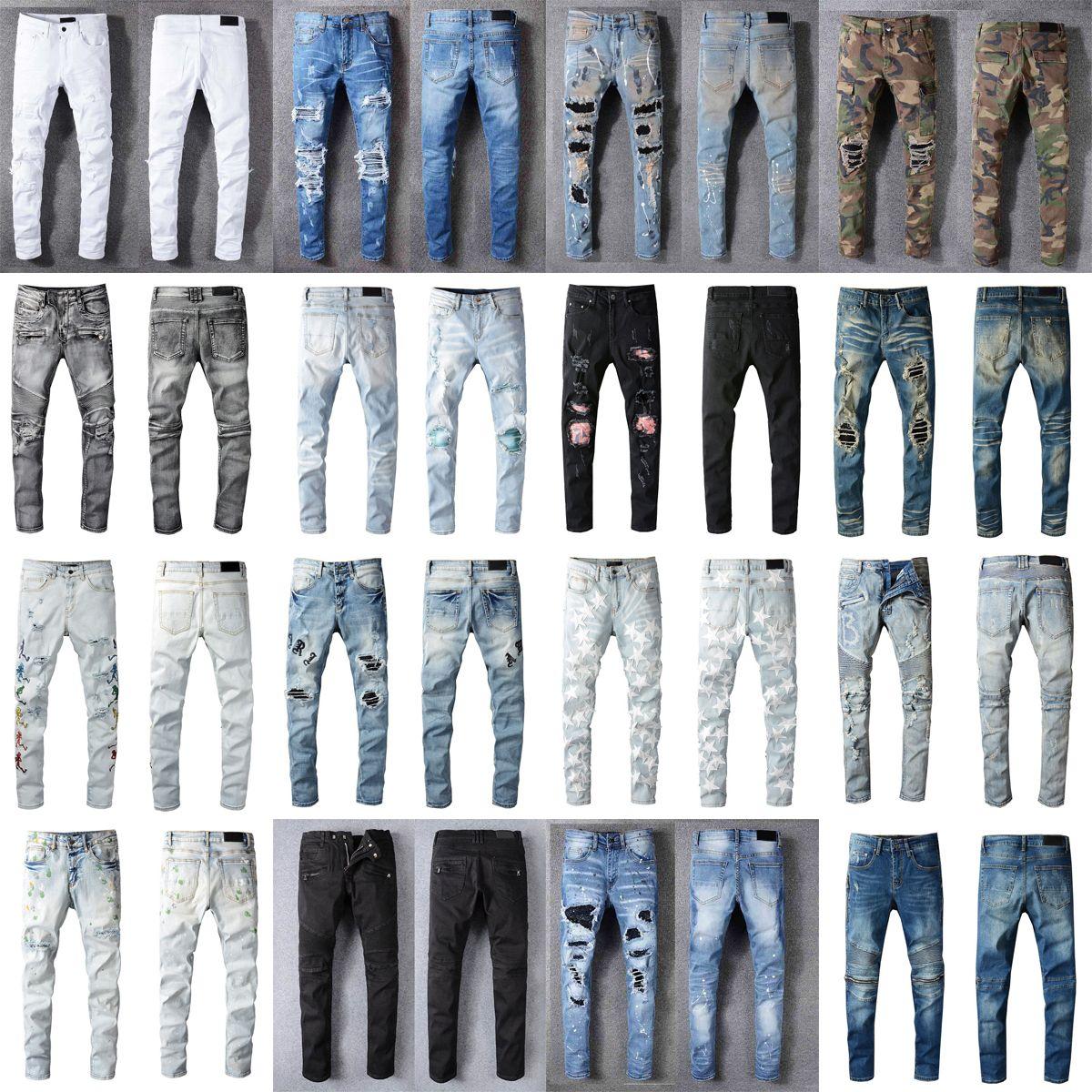 Luxurys concepteurs jeans france france mode pierre hétérosoche holder motard trous denim décontracté jean homme maigre pantalons élasticité pantalon déchiré homme