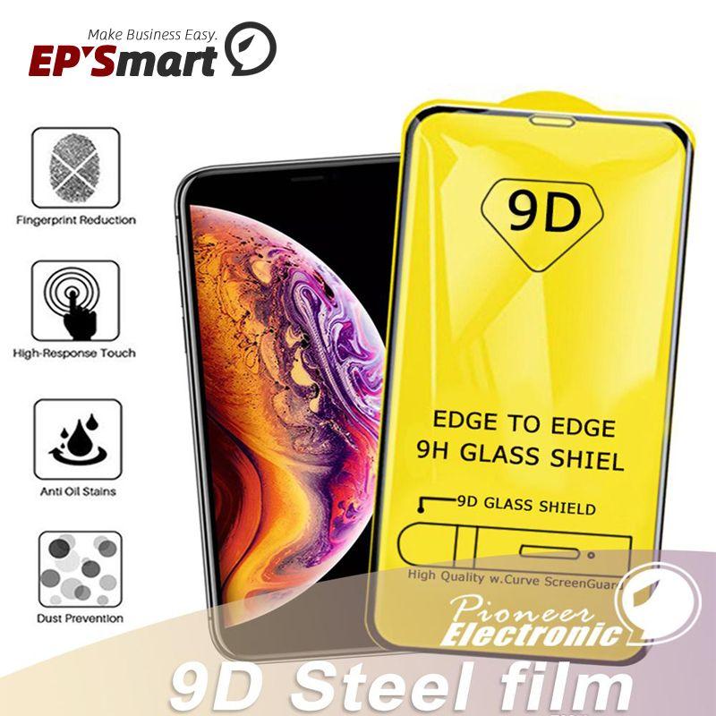 9D غطاء كامل الغراء الزجاج المقسى حماة شاشة زجاجية 9H صلابة آيفون 12 ميني 11 برو XR XS ماس x 8 سامسونج غالاكسي S21 S20 Ultra A80 A70 A60 A50