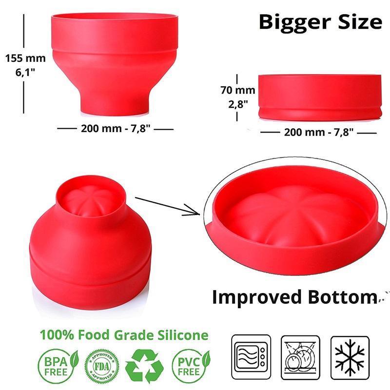 Nova pipoca Microondas Silicone Dobrável Vermelho Cozinha Easy Tools Fácil Ferramentas DIY Popcorn Bucket Buck Maker com LID DWD6608