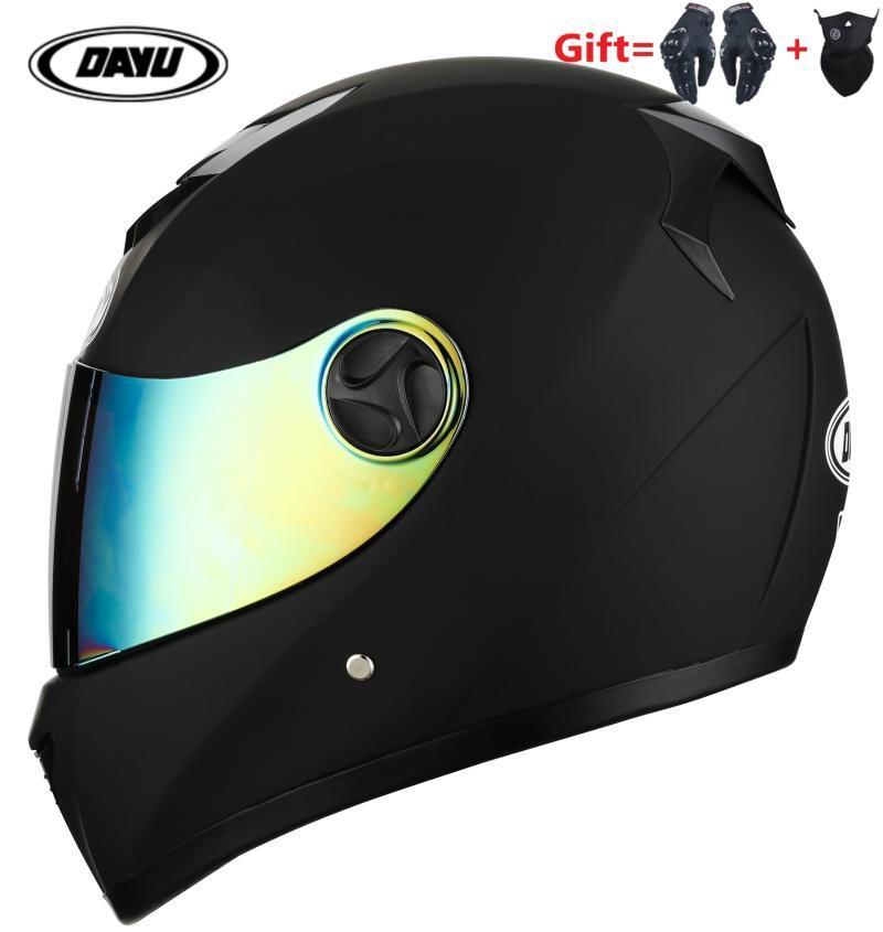 Casques de moto Envoyer des gants et masque Casque de visage complet avec une double lentille moto double visière vélo de saleté