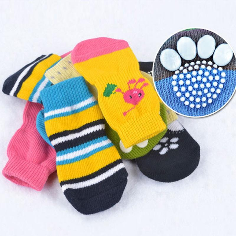 4pcs/Set Puppy Dog Knit Socks Small Dogs Cotton Anti-Slip Cat Shoes Indoor Wear Slip On Protector Random Color Wholesale Apparel