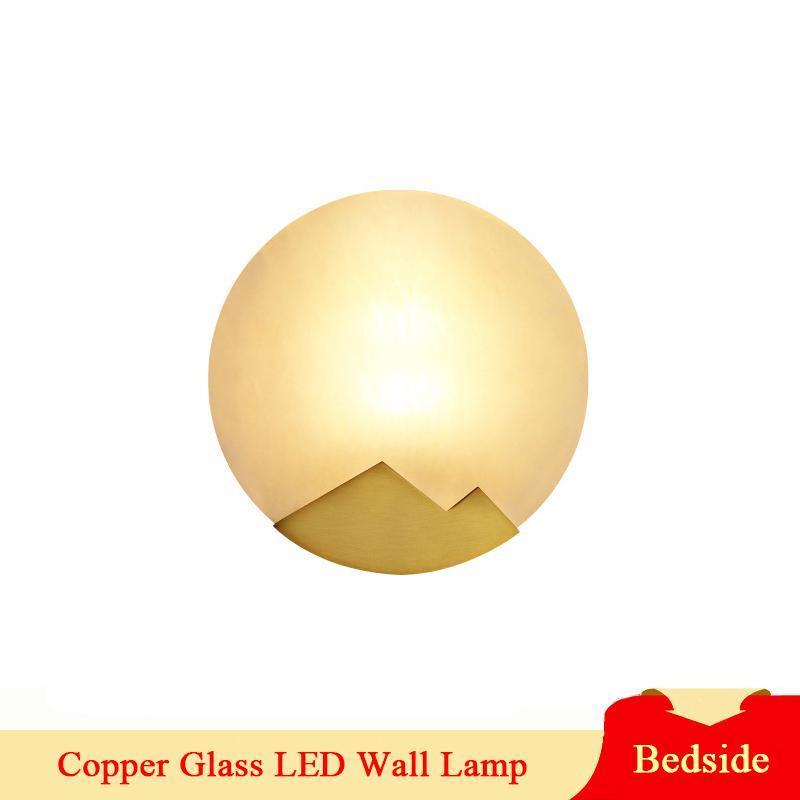 Wandlamp Indoor LED Wandlampe American Country Kupfer Glas Lampenschirm Schlafzimmer Bettdekoration E14 Leichte Geräte
