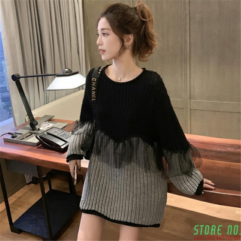 Одежда кружева лоскутное пуловеры Корейский осень мода длинные женщины свитера рукава в трикотаж женские женские женские