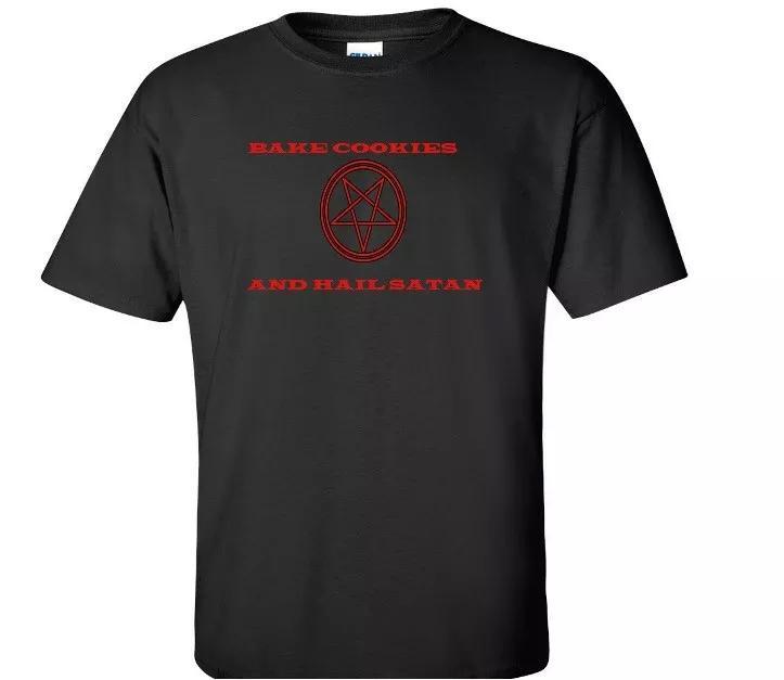 خبز الكوكيز حائل الشيطان الخماسي تي شيرت لوسيفر الشيطان مضحك هدية قميص أسود
