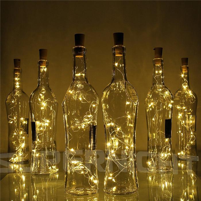2M 20-conduziu a luz da corda do fio de cobre com rolha de garrafa para a garrafa do ofício de vidro decoração de casamento Corda de Natal