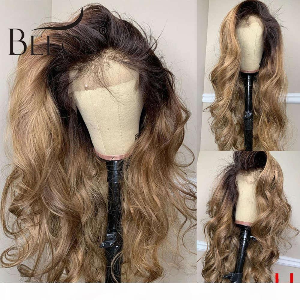 Медовая блондинка 180% 360 кружева передняя фронт человеческий парик тел волна ombre цвет предварительно сорванные детские волосы обесцвечены узлы бразильские реми