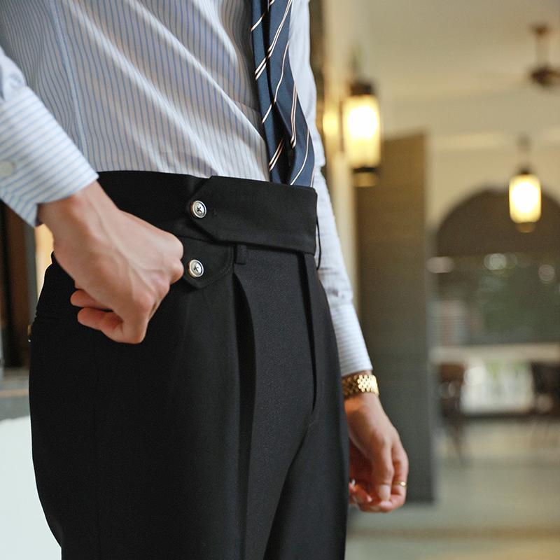 Hohe Taille Gerade Hosen Männer Business Vielseitige Hose Gentleman Neapel Paris Button Mode hellgrau Herren Kleid Hose Herrenanzüge BLA