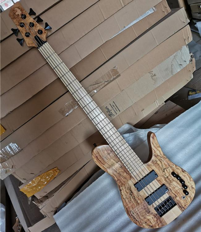 Ready In stock 5 Strings Neck-thru-body Original Electric Bass Guitar with Black Hardware,Can be customized