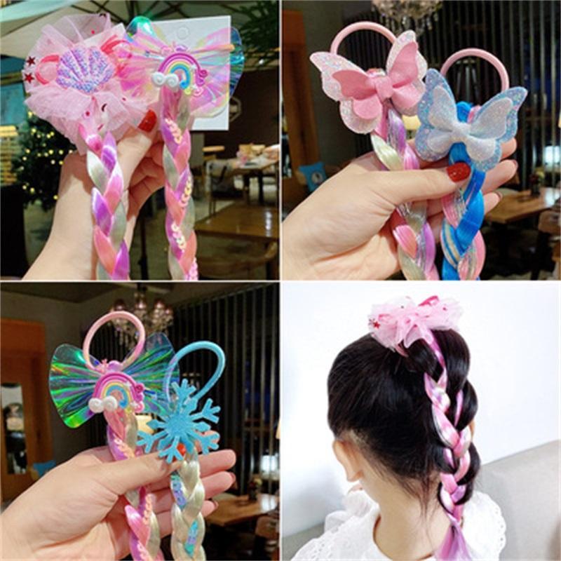 끈 편집 및 분산 헤어 링 액세서리 다채로운 로프 머리 장식품 만화 귀여운 머리핀 아기 소녀 공주 2 7PN Y2
