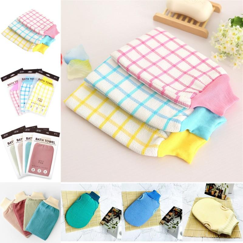 Multicolor Back Rub Bath Towel Rubbing Mud Thickening Clean Mix Checkered Revealing Glove Dusting DoubleDeck Gloves 1 79sl Y2