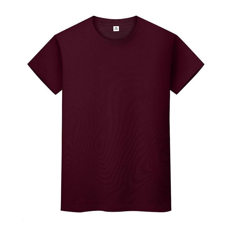 Nueva camiseta de color sólido de cuello redondo Camisa de fondo de algodón de verano para hombre y mujer de manga corta con manga corta VM6P