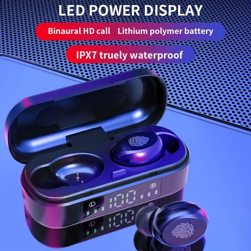 V8 TWS 블루투스 이어폰 소음 취소 헤드셋 HIFI 사운드 터치 컨트롤 이어폰 무선 이어 버드 IPX7 LED 전원 디스플레이가있는 방수 헤드폰