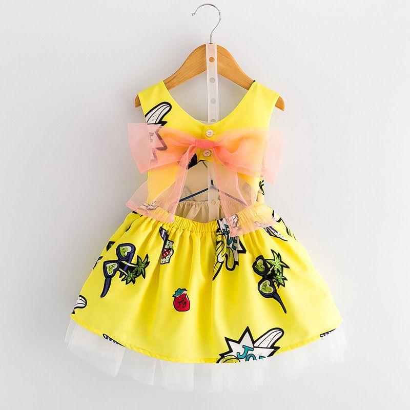 ملابس الأطفال الصيف فتاة الأصفر كتابات أكمام اللباس الطفل الأميرة فساتين أزياء الخصر تنورة 3-8 سنوات الاطفال الاطفال