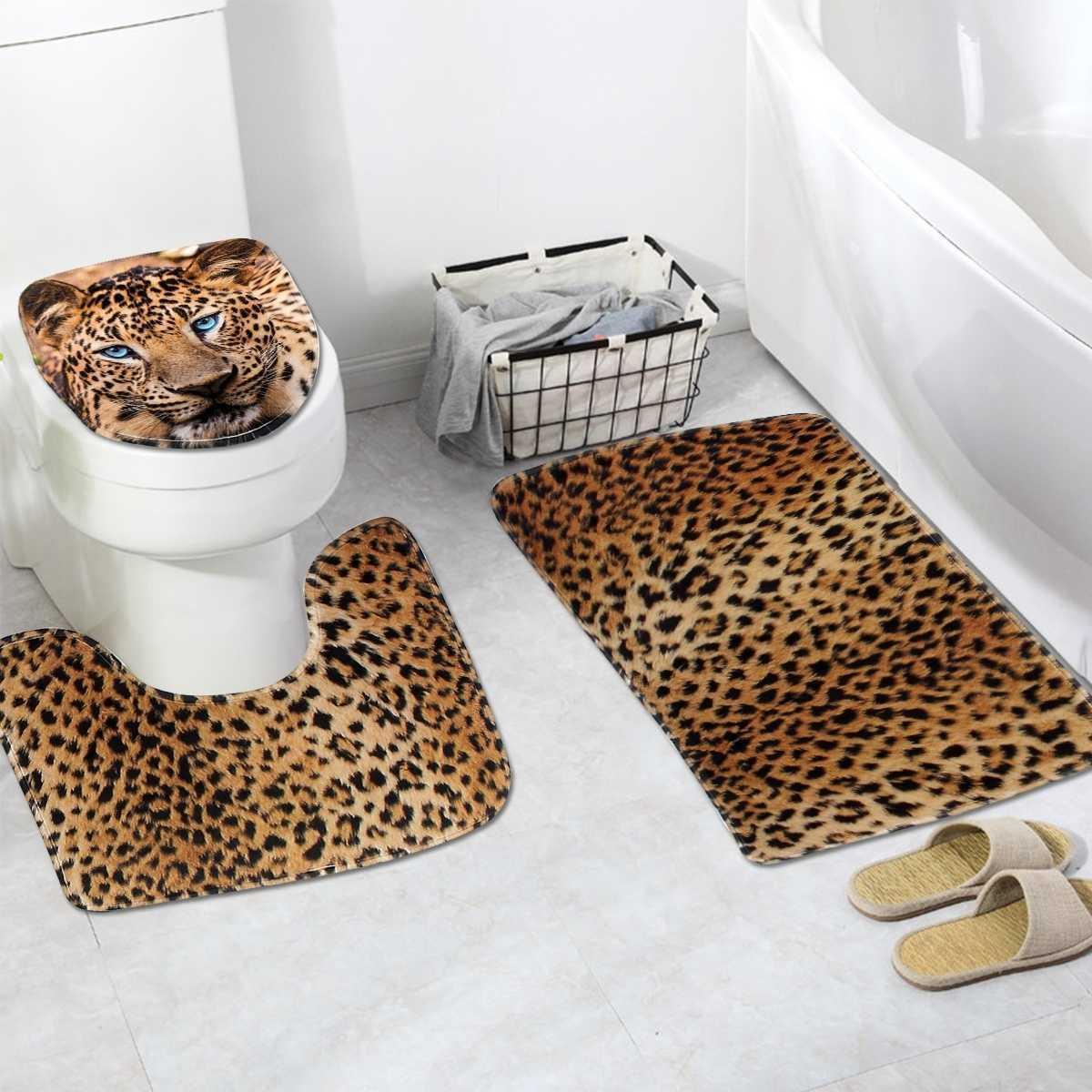 3 peça definir leopardo impresso antiderrapante banheiro banheiro toalete pedestal tapete tapete toalete tampa tampa de tampa impermeável pavimento matéria banheiro decoração 210724