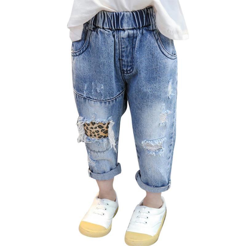 Jeans para niñas leopardo patrón niño niño pequeño agujero bebé estilo casual ropa