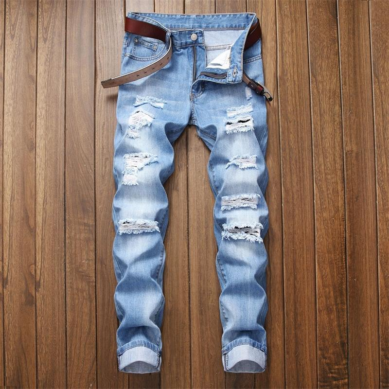 Fit And No With Holes, Straight Tube, Slim Men's Jeans Wear