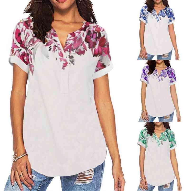 T-Shirts 90er Jahre Kleidung Vintage-Stil-V-Ausschnitt Blumen-Druck-Frauen-Hemd Kurzarm Sommer Beiläufige Lose Femme T-Shirt über Größe 5XL 210604