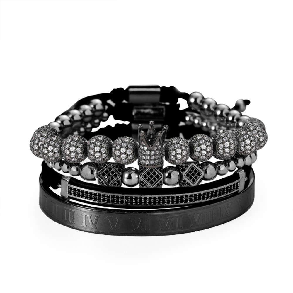 Creative hip hop rame perline intarsiato zircone trapano palla tessitura set tendenza braccialetto a mezzaluna