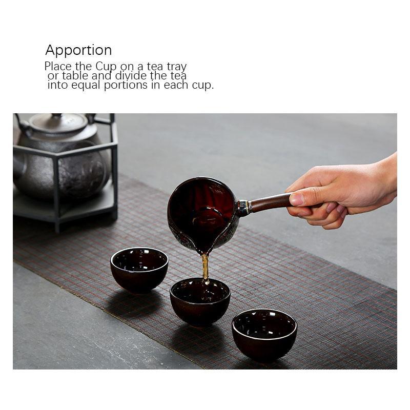 Kungfu tea complete set of Japanese ceramic kiln Tianmu glaze side handle teapot teacup Jun porcelain