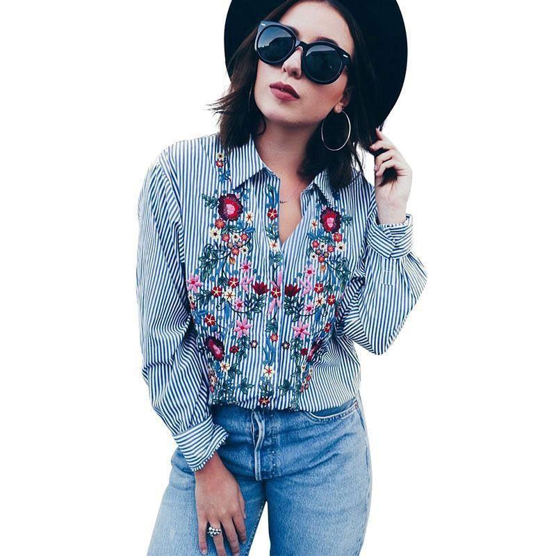 Frauen floral bestickte lässig Bluse Herbst Langarm gestreiftes Hemd Tops Support Drop Damen Blusen Hemden