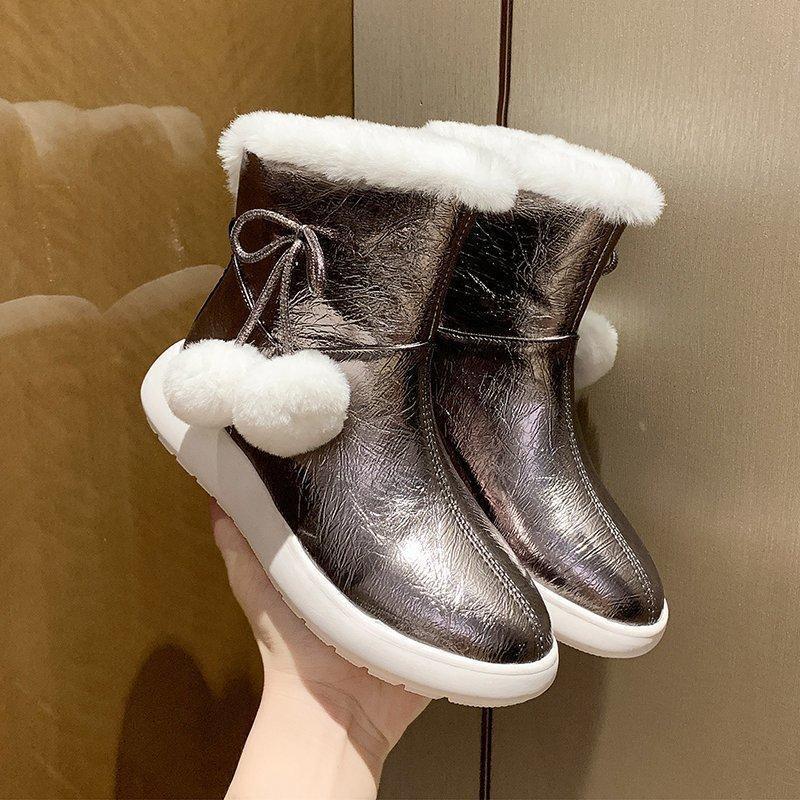 Boots Warm Fur Women Snow Cute Suede 2021 Winter Shoes Ball Female Fashion Non-Slip Casual Women's