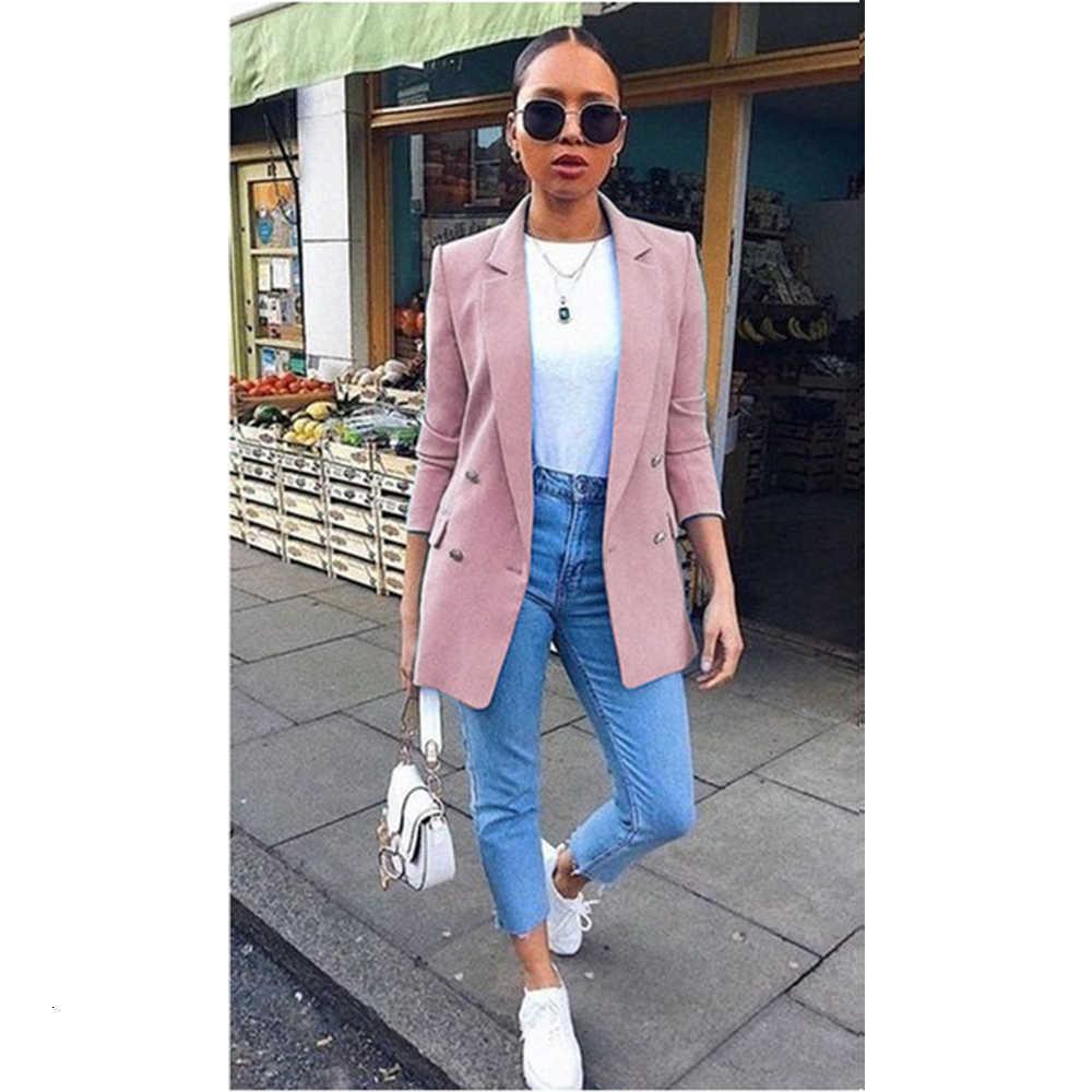 Sonbahar Yeni Kadın Chic Blazer Düğmeler Tasarım Moda Ofis Bayan Katı Renk Uzun Kollu Suit Ceket Giyim Tops Artı Boyutu S-5XL V191021