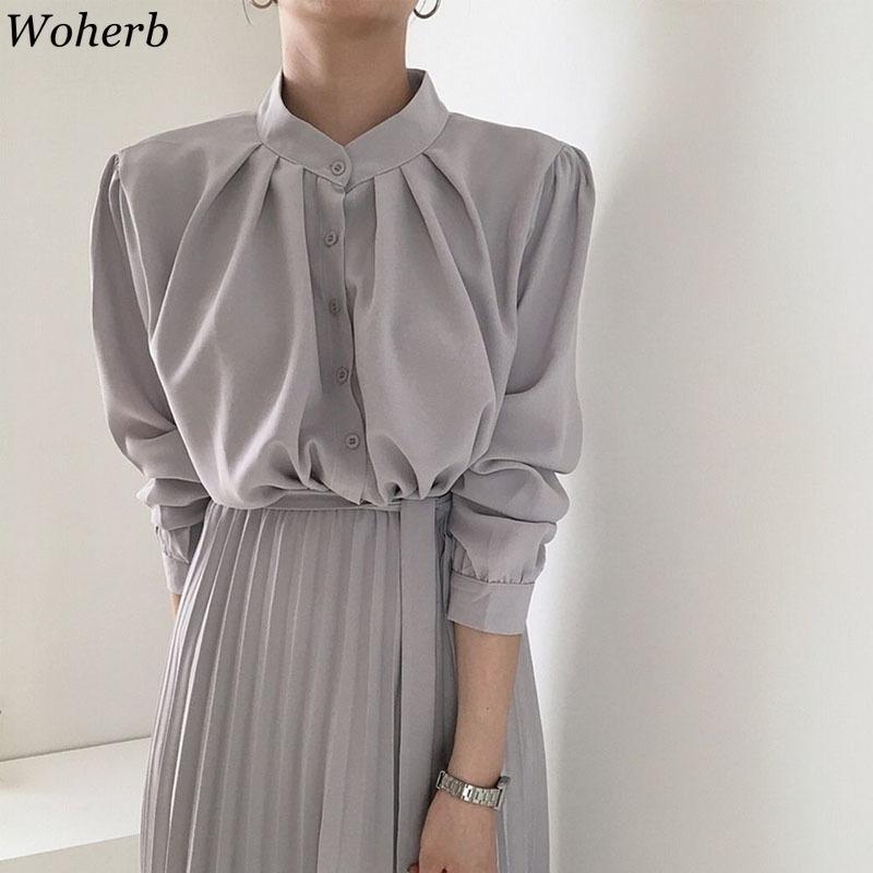 Elbise Kadınlar Ropa Mujer Ofis Bayan Zarif Ince Bel Vestidos Pileli Standı Boyun Robe Bandaj Katı Kore Giyim 210422
