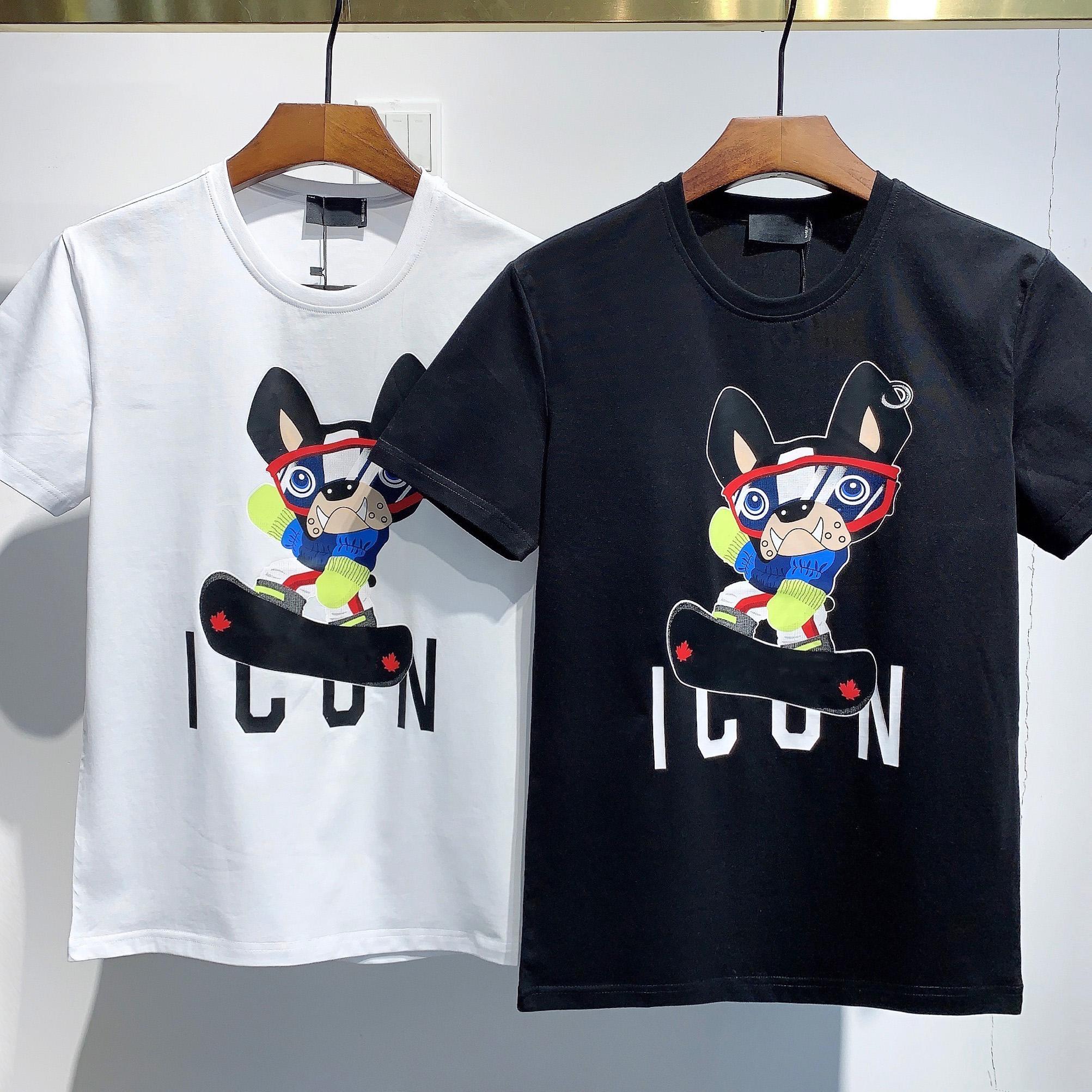 2021 패션 아이콘 디자이너 망 여성 T 셔츠 # DT062 OFF 여름 클래식 메이플 리프 티 필수 화이트 글자 인쇄 캐주얼 의류 C5'D2
