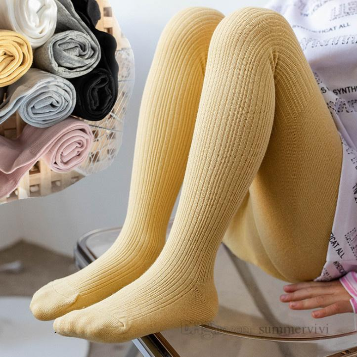Autumn Baby Girls Tight Kids Bambini verticale a maglia in cotone traspirante leggings da ballo 2021 Bambini Principessa Bottoms Pantyhose Q0173