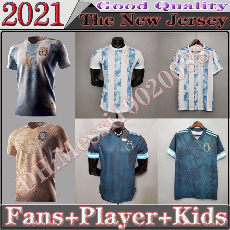 Argentinien Fussball Trikot 20 21 Copa Home Away Football Hemd 2021 Messi Dybala Aguero Lo Celso Martinez TagliFico Fsan Player Version Kinder Kit Uniformen