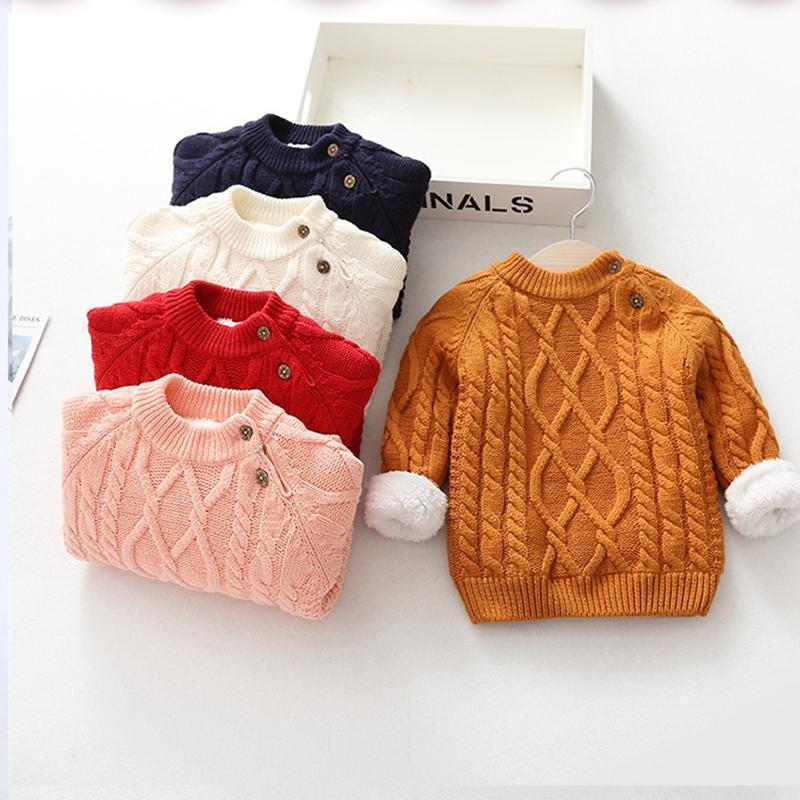 겨울 유아 크리스마스 스웨터 아기 소년 소녀 코튼 어린이 니트 카디건 풀오버 긴 소매 양털 아이들