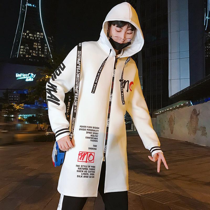 Autumn and Winter 2021 New Korean Fashion Hooded Men's Windbreaker Medium Length Leisure Student Jacket