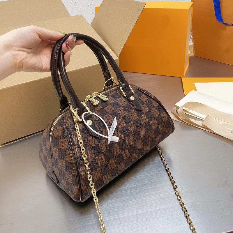 Klassische Handtaschen Tragetaschen Frauen Umhängetasche Hohe Qualität Echtes Leder Schachbrett Zeichen Brief Brief Muster Abnehmbare Kette Hochleistungskapazität